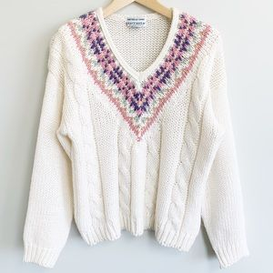 Hand knit cream chunky knit womens v neck sweater